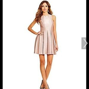 Gianni bini fit and flare rose gold dress